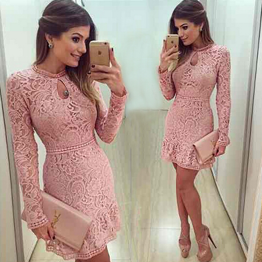 New Arrive Vestidos Women Fashion Casual Lace Dress 2016 O-Neck Sleeve Pink Evening Party Dresses Vestido de festa Brasil Trend(China (Mainland))