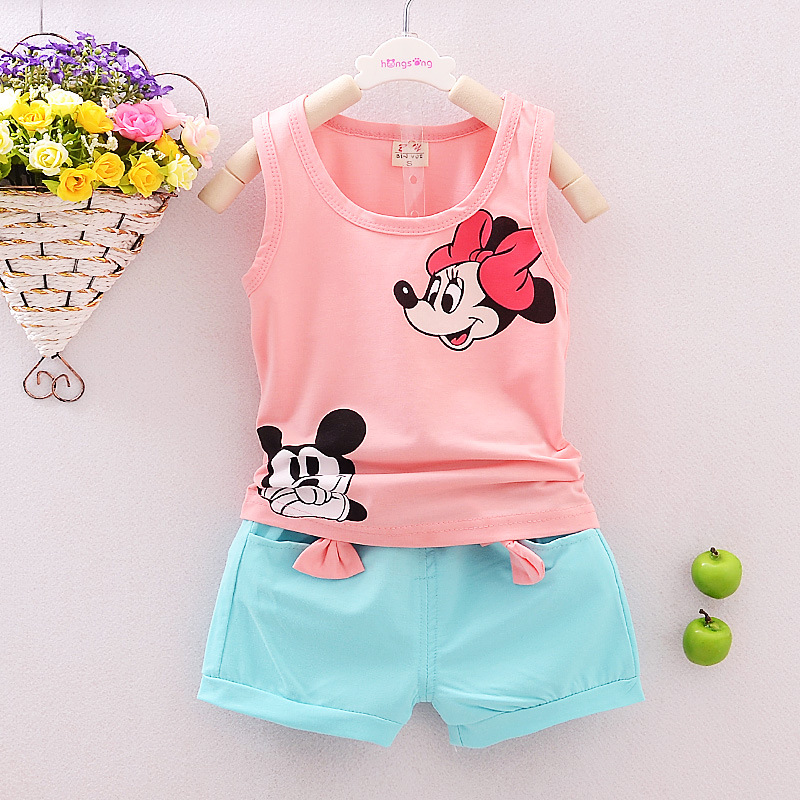 2016children baby girls summer christmas outfit toddler clothing set family tracksuit clothes set minnie mouse Tshirt+short pant(China (Mainland))