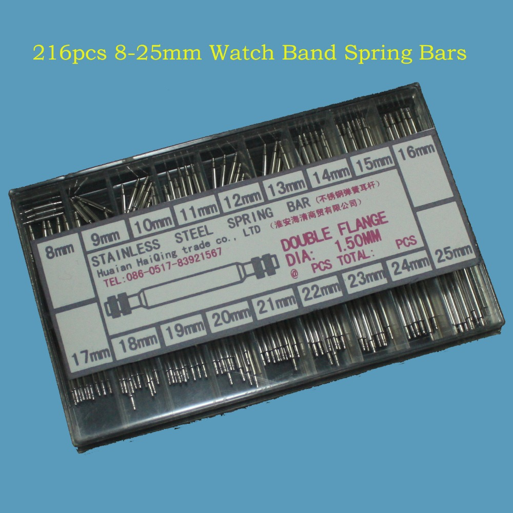 Free Shipping 216pcs 8-25mm Watch Band Spring Bars Strap Link Pins Repair Watchmaker Link Pins Remove Toolsworldwise Top Quality(China (Mainland))
