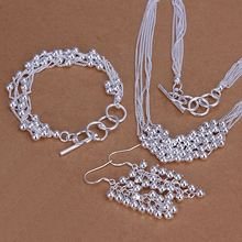 Factory price top quality silver plated grape style jewelry sets silver-plated necklace bracelet earring freeshipping SMTS137(China (Mainland))