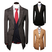 2015 new winter Small bump color han edition Cultivate one's morality leisure exquisite high-end men long coat temperament(China (Mainland))