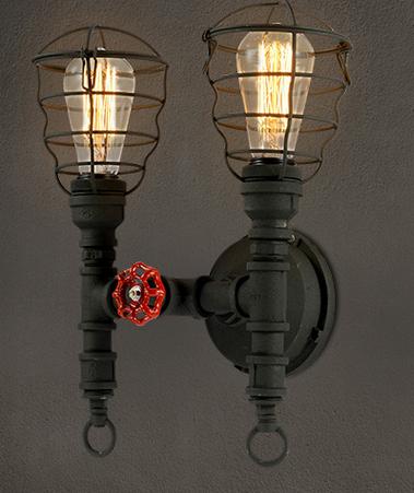 Фотография Industrial Vintage Pipe Wall Lamp American LOFT Balcony Restaurant Bar Wrought Iron Wall Lamp