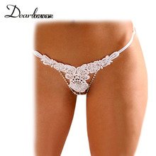 Sale Embroidery Thong Women Underwear White Black Red sexy panties g string with beading sexy lingerie hot open crotch LC7561(China (Mainland))