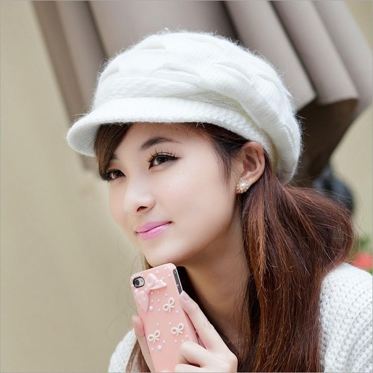 2015 New Explosion models Thick wool fall and winter hat Women rabbit hair visors Girls cap(China (Mainland))