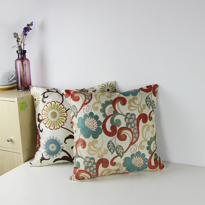 Unique Throw Pillow Covers 18x18 : 2015 Jacquard Floral Accent Decorative Throw Pillow Luxury Floral Cushion Covers Multicolored ...