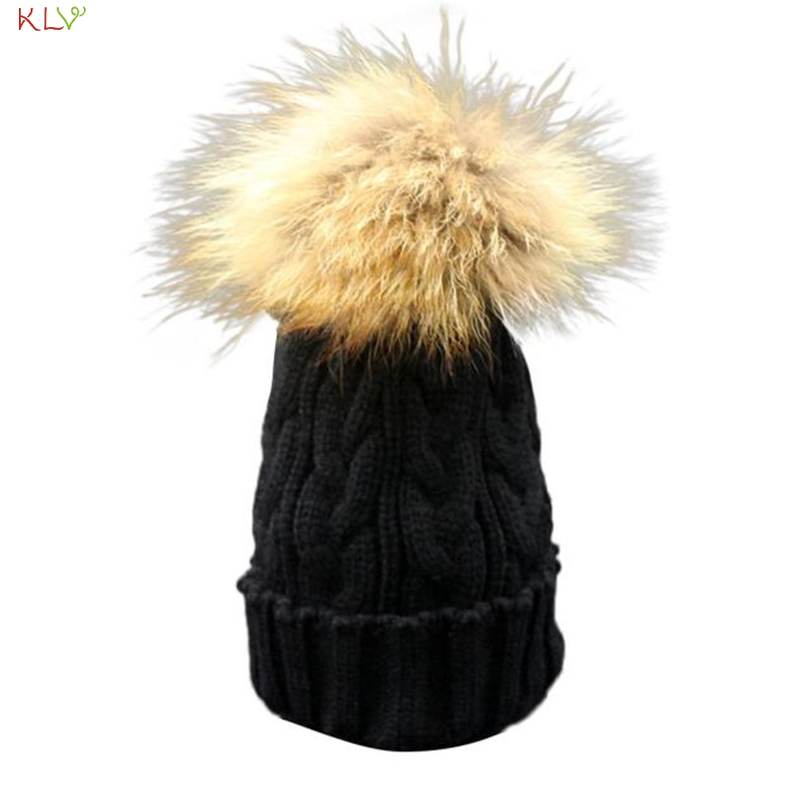 Hot Brand Toddler Baby Winter Crochet Hat Fur Wool Knit Beanie Warm Cap