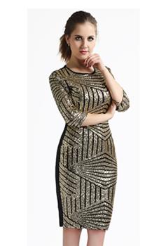 New Fashion 2016 Geometric Party Club Evening Wear Golden Woman Sequins Backless Bodycon Pencil Dress Sexy Slim Club Dresses