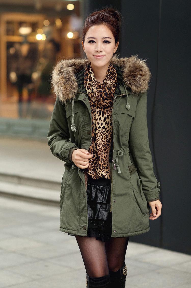 Women Winter Detachable Big Fur Hood Coat, Army Green Faux Wool Lining Warm Jacket - xFashion Club store