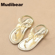 New Hot sale 2016 Children's flats sandals Girls Summer fashion beading leather sandals kids elastic band Kids beach shoes(China (Mainland))