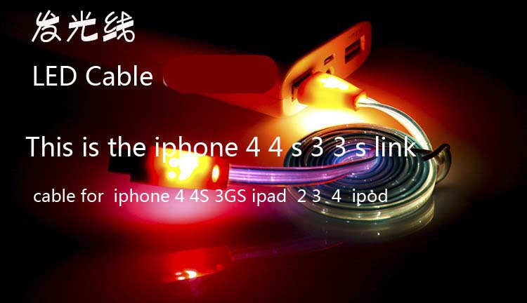 30-Pin Multicolor change LED Smile light SYNC Data Cable charger iphone 4 4S 3GS ipad 2 3 ipod - Blues electronics store