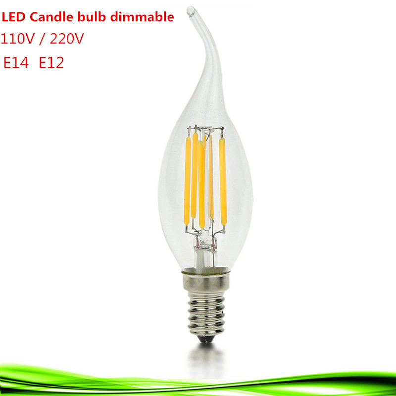 1X LED E14 bulb 4W 6W 9W dimmable E12 110V 220V LED bulb candle lamp filament warm/white crystal chandelier Incandescent light(China (Mainland))
