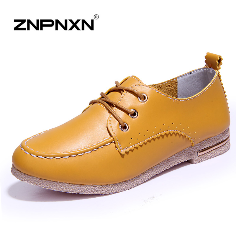 2016 Spring Fashion Womens Shoes Breathable Leather Shoes Woman Oxfords Shoes For Women Lace Up Quality Fast Shipping<br><br>Aliexpress