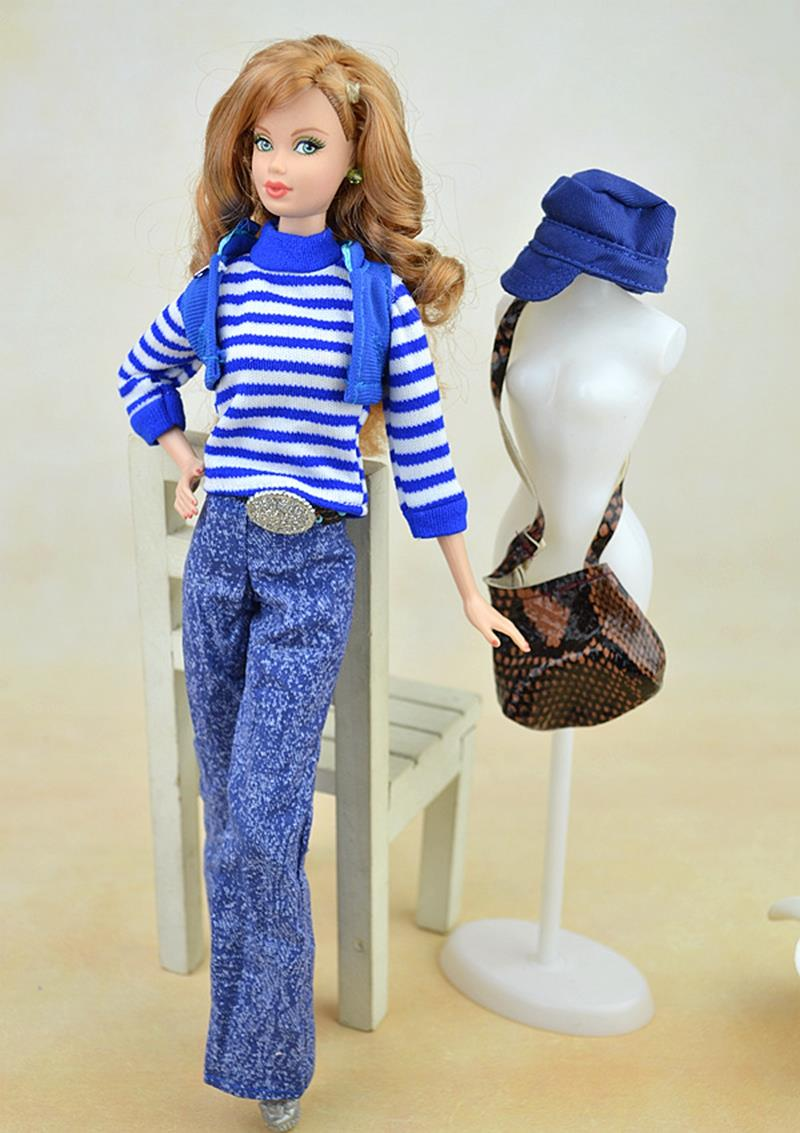 Doll Accent Autume Winter Put on Go well with Set For Barbie Doll Home Blue Striped Sweater Pants Baggage Footwear Lady Reward