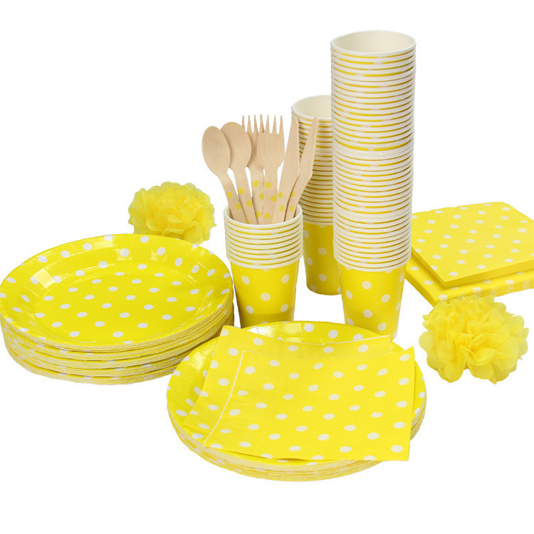 Promotion Yellow & White Polka Dots Tableware Party paper plate cups napkins paper straw Cutlery Set Knives Forks Spoons(China (Mainland))