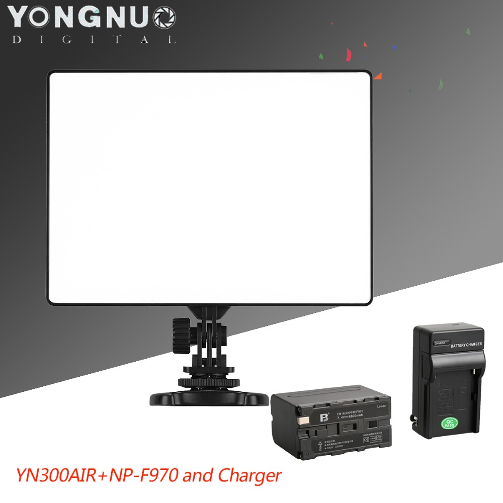 YONGNUO YN300 Air on Camera Led Video Light with 6600mAh NP-F970 Battery and Charger for Canon Nikon Sony DSLR &amp; Camcorder<br><br>Aliexpress
