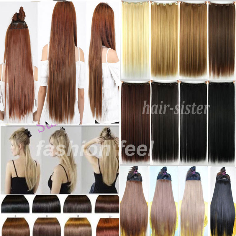 """Fall To Waist Long NEW hair 30"""" 76CM Straight Clip in Hair Extensions 5Clips on 100% Real Thick Hair Extension US UK Local SHIP(China (Mainland))"""