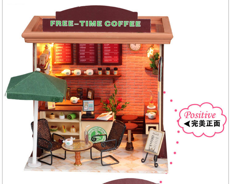 Activity & Amusement Creative Gifts Toys Wooden Dolls House Furniture Miniature toys Free-time coffee Dolls For Kids Children(China (Mainland))