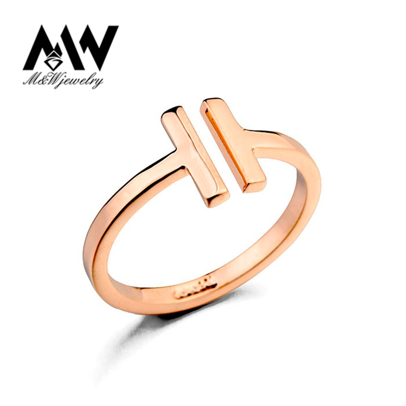 Italina Rigant Brand Fashion Ring Real Gold Plated Opening Letter T Shaped Gold Ring Jewelry(China (Mainland))