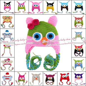 10pcs/lot 27 Style effective children's Cap- Handmade Knitted Crochet Baby Hat owl and monkey Animal modelling hat with ear flap