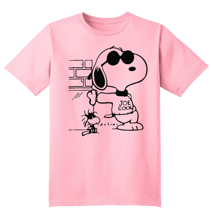 snoopie T-Shirt 100% Casual cartoon dog dog anime DOG Character Tees T Shirt Joe Cool Casual short clothes handmade Fashion 2017(China (Mainland))