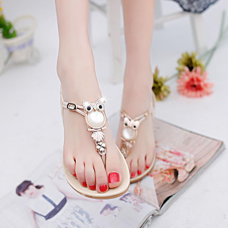 2017 new fashion women sandals rhinestone comfort summer 35-42 women shoes flat sandals(China (Mainland))