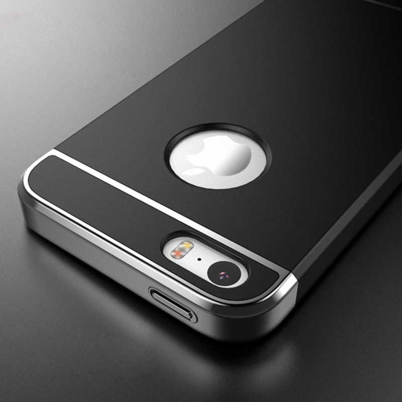 For Apple iPhone 5 5s SE Electroplating Frame Side 3 in 1 Hard PC Splice With Logo Circle Hole Matte Skin Case Smooth(China (Mainland))