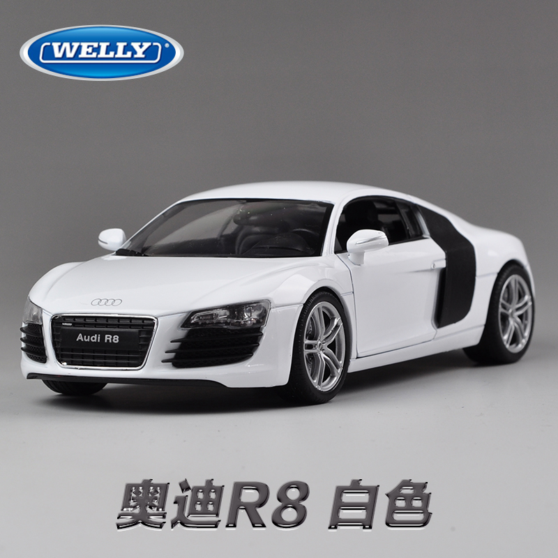 Free Shipping Wholesale 3pcs/pack WELLY 1/24 Scale Car Model Toys AUDI R8 Diecast Metal Car Toy New In Box(China (Mainland))