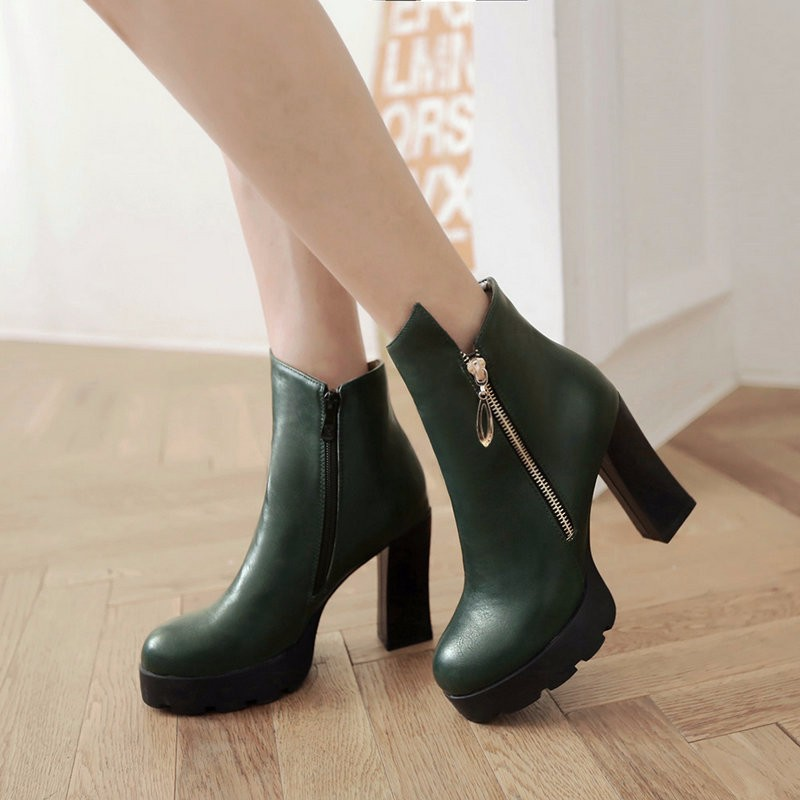 VINLLE 2015 Winter Women Boots Square High-heel Women Ankle Boots
