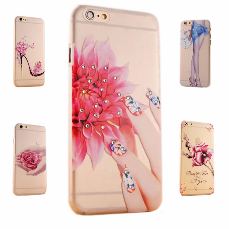 diamond case for iphone 5 5s i5 colorful fingernail luxury ultra thin transparent girl by mobile soft cover flower by tpu cases(China (Mainland))