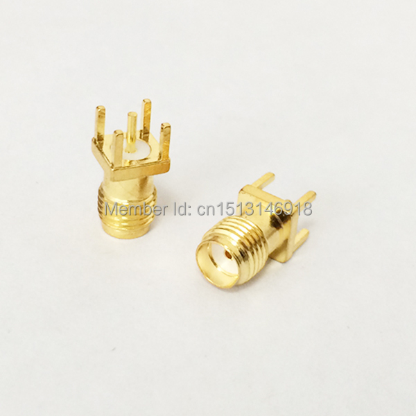 SMA  Female Jack  RF Coax Connector  PCB  Cable  Straight  Goldplated  NEW  wholesale<br><br>Aliexpress