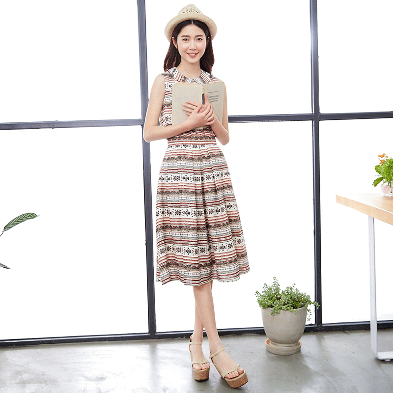Night this summer new art slim slim waist sleeveless vest dress doll collar stamp A word(China (Mainland))