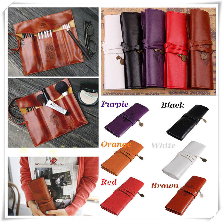 6 Colors Vintage Retro Luxury Roll Leather Make Up Cosmetic Pen Pencil Case Pouch Purse Bag for School(China (Mainland))