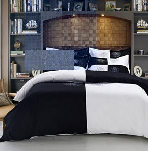 2015 new luxury Hotel brand Fashion Bedding Sets black white queen comforter cover sets cotton 4PCS Wedding boys bedding set(China (Mainland))