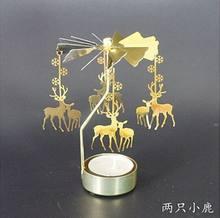פיל ללכת סיבוב פמוט מסתובב רומנטי מסתובב קרוסלה תה אור נר בעל לאור נרות ארוחת ערב חג המולד סנטה חתול(China)