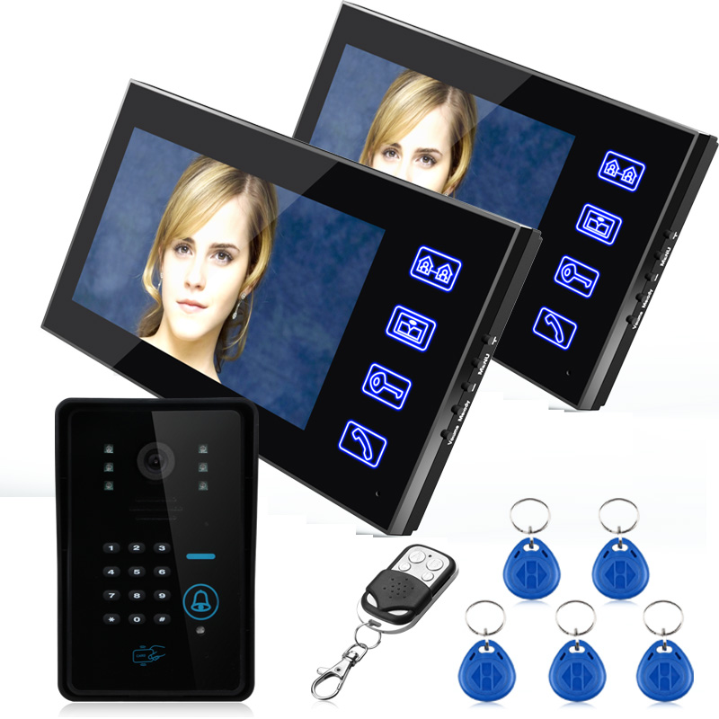 "FREE SHIPPING Ennio Touch Key 7"" Color RFID Video Door Phone Doorbell Video Intercom System 5 ID Card Video Intercom 2 Monitor(China (Mainland))"