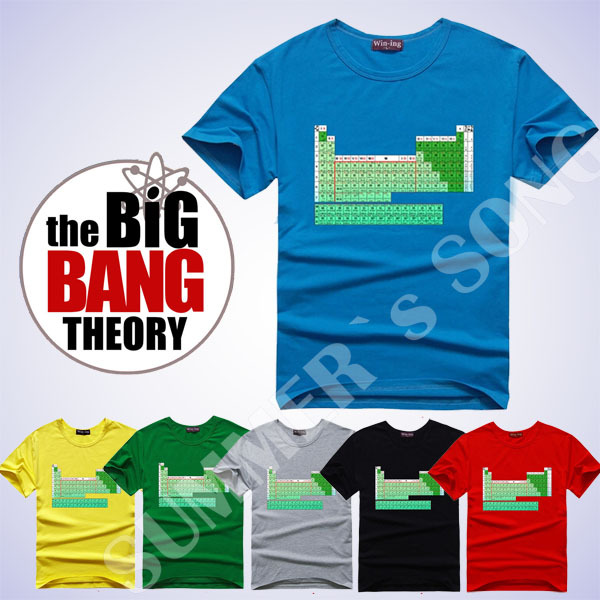 Summer New The Big Bang Theory Sheldon Cooper periodic table of elements Geek Fitness Women T Shirt lovers' clothes(China (Mainland))