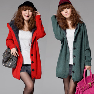 2013 new autumn winter women medium-long thickening sweater outerwear girls cardigan plus size fur Trench coats