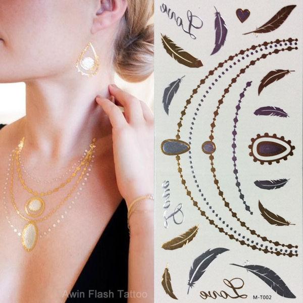 Moda Metal de prata de ouro Flash do tatuagem DIY pulseiras colar gargantilha temporária metálico tatuagens 10 pçs/lote jóias Tatoo(China (Mainland))