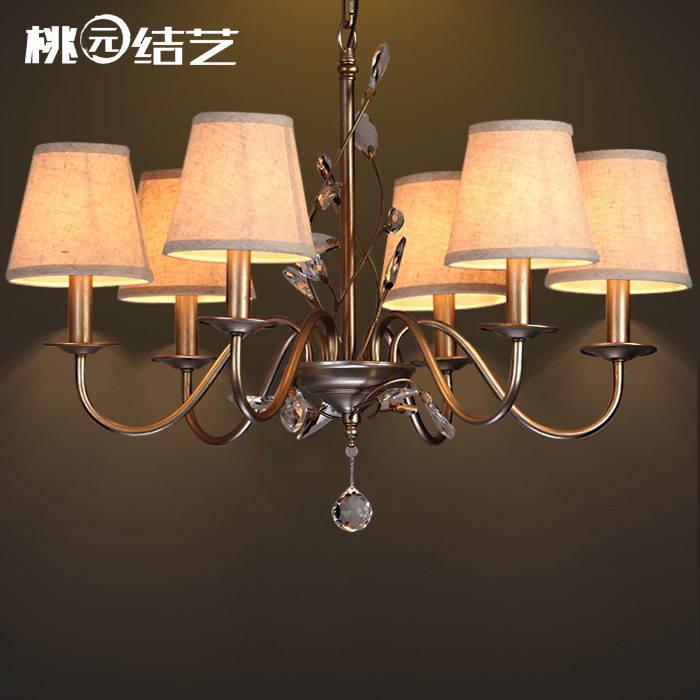Nordic American IKEA branch chandelier wrought iron antique copper rustic personality bedroom penthouse floor living room chand(China (Mainland))