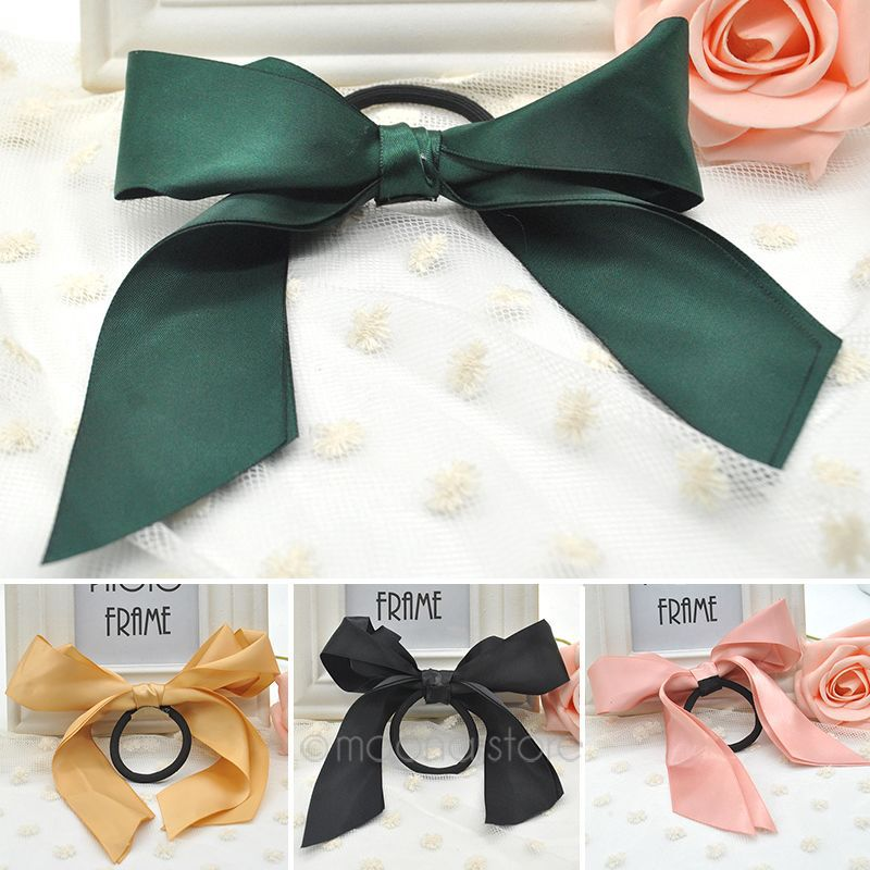 Fashion Hair Accessories Women Ribbon Bow Hair Band Scrunchie Ponytail Holder Multi Color Hair Tie Rope ZX*MHM030(China (Mainland))