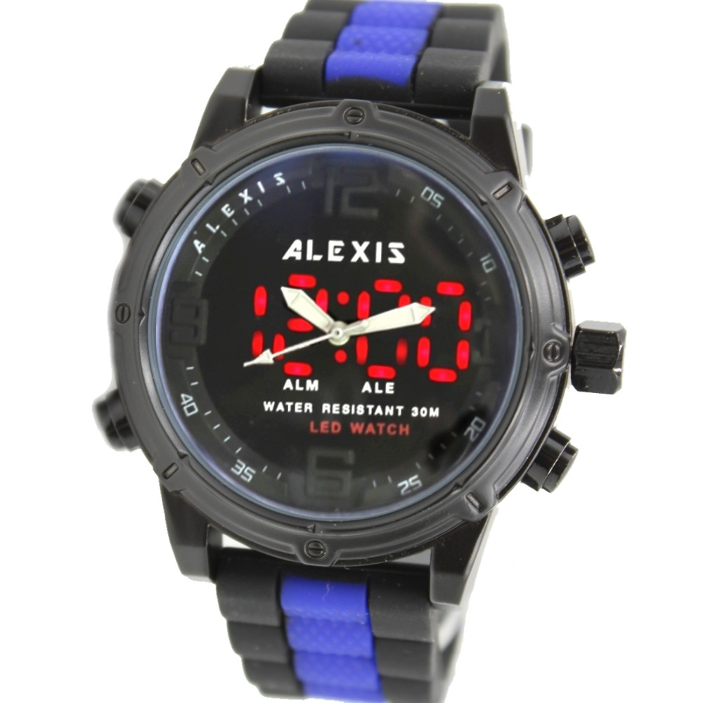 ALEXIS BRAND Gifts Box Alarm BackLight Water Resistant Silicone Black + Blue Tone Color Band Men Analog Digital Watch AW802L(China (Mainland))