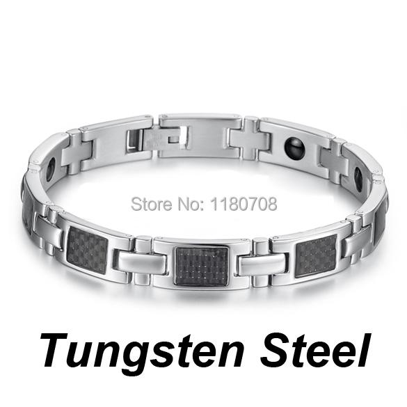 316L Men Silver Magnetic Titanium Hologram Bracelets Stainless Steel Bracelet Bangle GS356(China (Mainland))