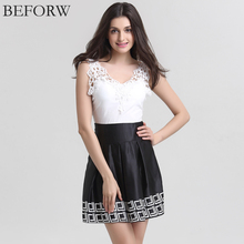 Black White Vintage Sleeveless V-neck Dresses