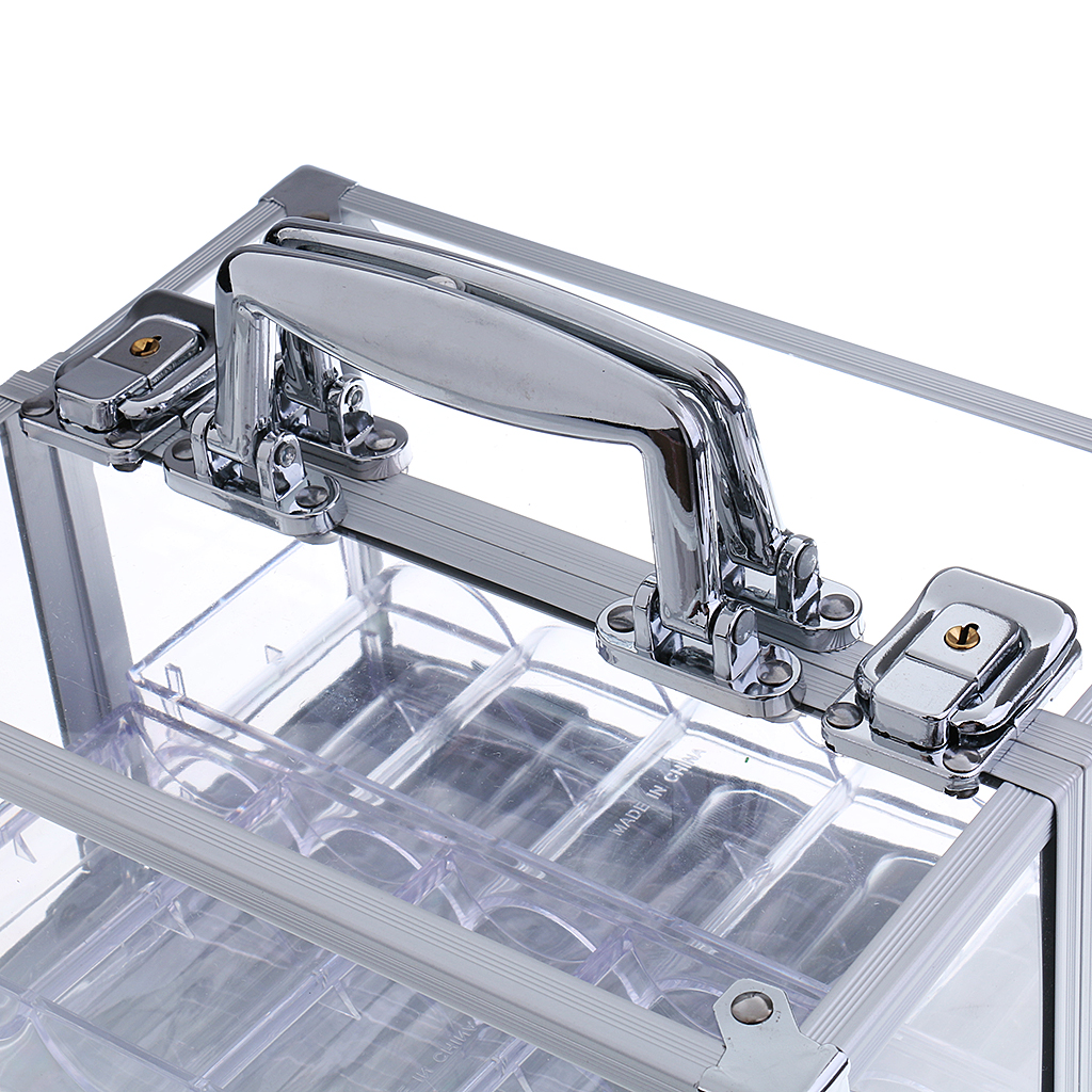 Transparent Acrylic Chip Carrier, Aluminum Chip Box With Lock 600 Chips Capacity Chip Carrier Poker Chips Suitcase Large Cases