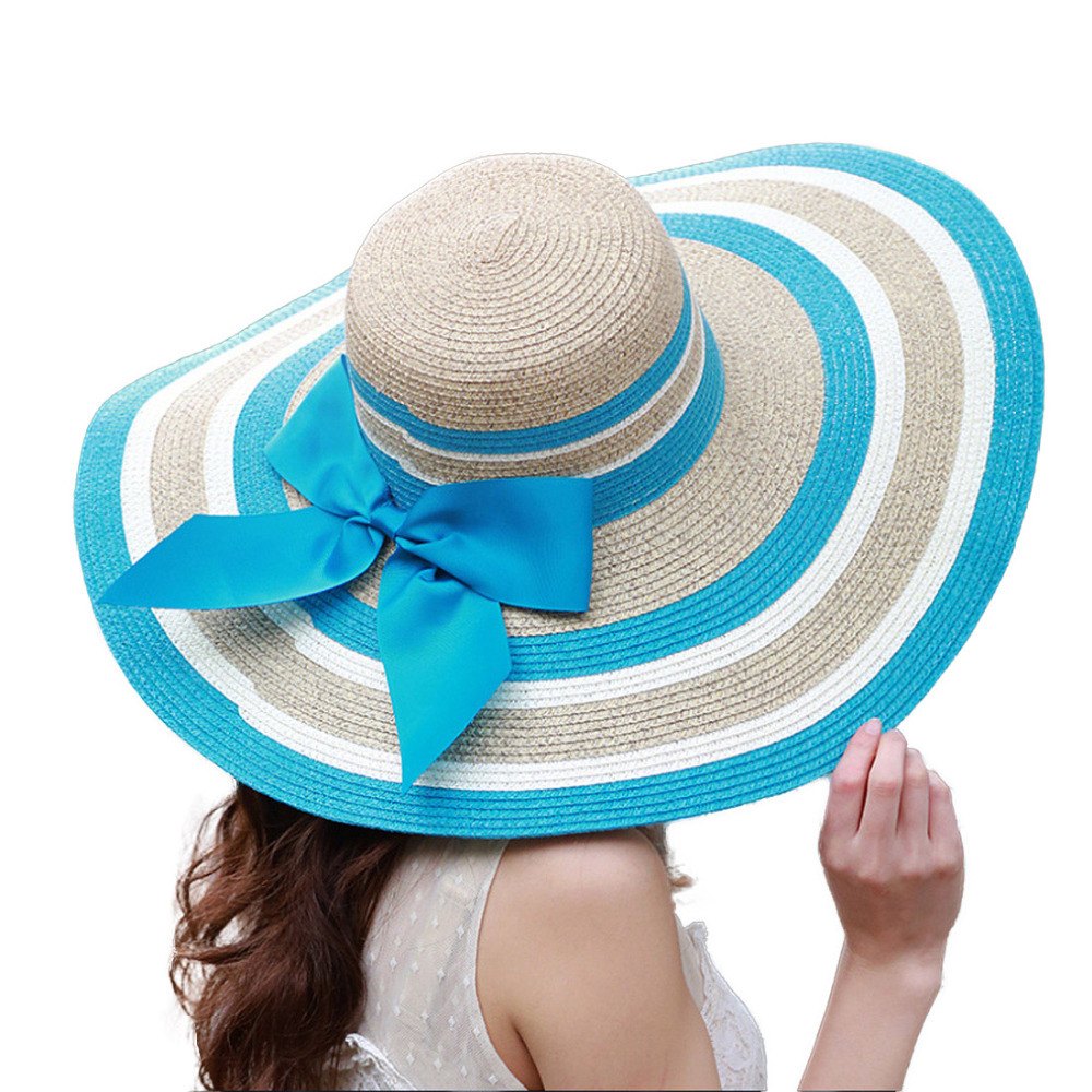 PB92315 Straw Hats Wholesalers Summer style Girls Wide Brim Striped Summer Color Straw Beach Hats for Women(China (Mainland))