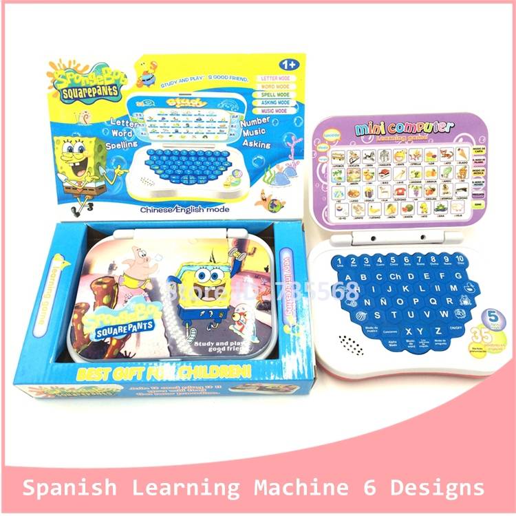 Hot Sales Baby Educational Toys Children Enlighten Tablets Spanish Learning Machine Preschool Education Laptop Christmas Gift(China (Mainland))