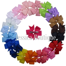 40pcs/lot 3″ Boutique Grosgrain Ribbon Hair Bow Alligator Clips Baby Head Bows Pinwheel Toddler Ponytail Bows Headwrap For Girls