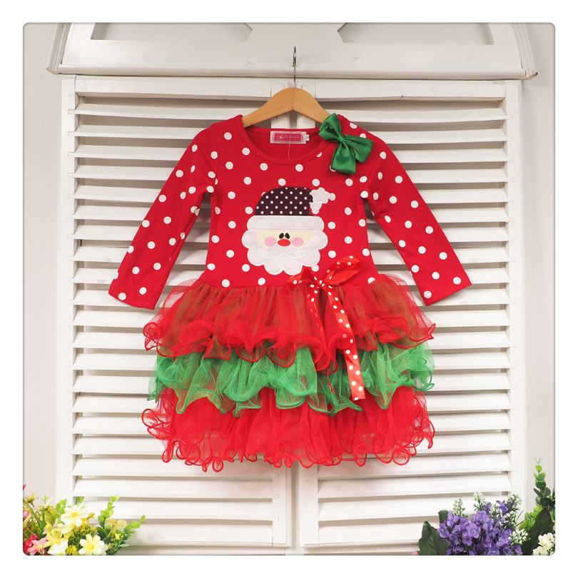 &E-babe&Wholesale children's clothing toddler girls Christmas Santa Claus tulle tutu red dot dresses kids holiday clothing 613(China (Mainland))