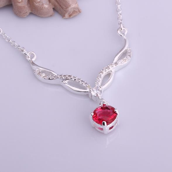 Necklaces Silver Plated Necklace Silver 18 Inches Chain Pendant Necklaces Women's Red Crystal Jewelry Free Shipping dawa LN533(China (Mainland))