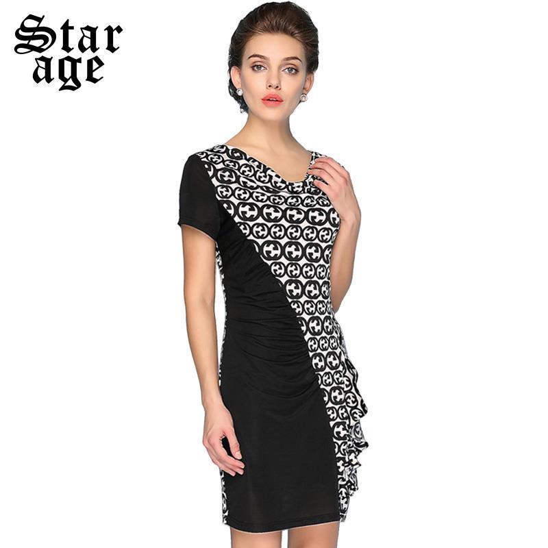 M-XXXL Brand Plus Size Fashion Women Short Sleeve Slim Dress Elegant Ladies Geometric Print Patchwork Summer Pencil Dresses 8045(China (Mainland))